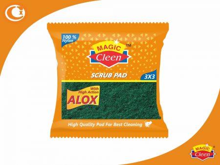 Nylon Green Scrub Pads 3 x 3 Size Magic Cleen