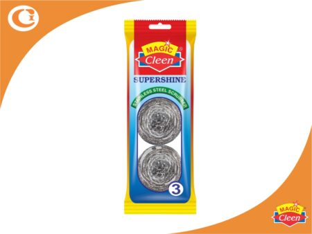 Magic Cleen Supershine Stainless Steel Scrubber Pack of 3